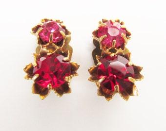 Vintage Pink Red Rhinestone Earrings Clip on 1960s