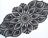 "Black crochet doily, oval crochet doily, pineapple doilies, crochet lace doily, crochet centerpiece, 23 "" X  12 """