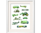 Things that Go Green! Transportation Art Print