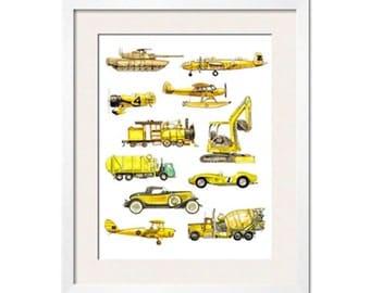 Things that Go Yellow! Transportation Art Print