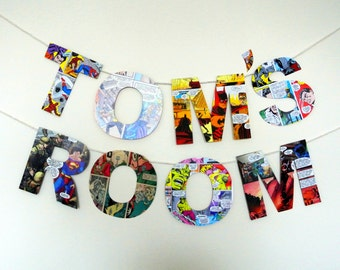 Comic Book Personalised Banner Super Hero Themed Birthday Party Decoration Custom Bunting Man Cave Decor Gift for Boyfriend Present Bedroom