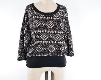 VTG Sonia Rykiel Tribal Print Oversized Velour Sweatshirt