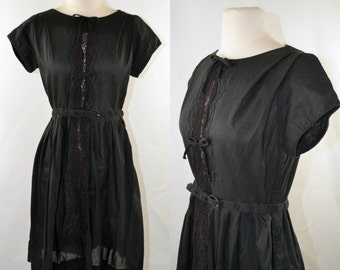 1950s Little Black Dress, Short Sleeves, Tea Length Dress, Lace Front