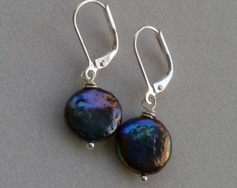 Peacock Black Pearl Sterling Silver Earrings - Iridescent Black Blue Purple Coin Pearl Lever Back Earring - Modern Pearl Earrings