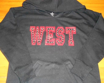 Custom French Terry Hoodie with Glitter and Rhinestones