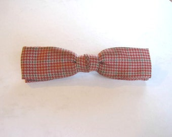 Vintage 1940s 1950s Bowtie Red Black Gray Plaid Tattersall Bow Tie Clip On by Arrow