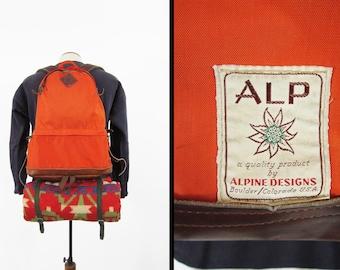 Vintage Alpine Designs Backpack Orange Leather Teardrop Day Pack - Boulder Colorado