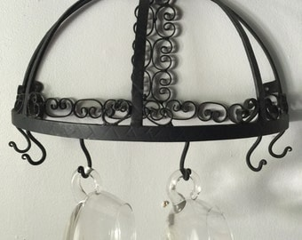 Hand forged tea cup holder. Wall hanger. In the style of Salterini. Kitchen
