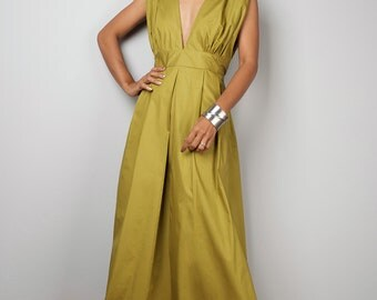 Olive Maxi Dress - Long Yellow Green dress : Oriental Secrets Collection IIs