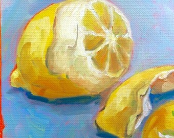Lemon Peel, Lemon, Original Painting, Oil Painting, Lemon Rind, Yellow and Aqua