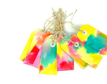 Rainbow watercolor Gift tags. 10 Hand made Watercolor Gift Tags. Art Hang Tags. Thank You Cards OOAK. Rainbow Hand made watercolor gift tags