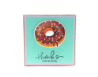 Thank you Card - Chocolate Donut Funny Handmade Card with brown kraft envelope. Thanks ever so much Fun Greeting Cards - Quirky Unique cards