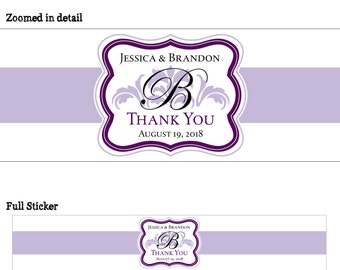 50 Personalized Glossy WATERPROOF Wedding Water Bottle Labels - many designs to choose from - change designs to any color or wording WW-022