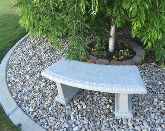 Concrete Curved Tile Top Bench -with matching legs