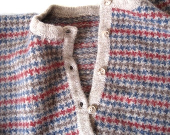 Upcycled Recycled Felted Wool sweater back and front pieces / wool sweater remnant / tweed cardigan for crafts