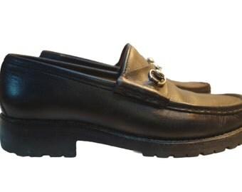 GUCCI Black Leather Horsebit Women's Shoes Size 8B