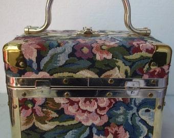 DELILL 50s60s Tapestry Train Case Box Purse Italy