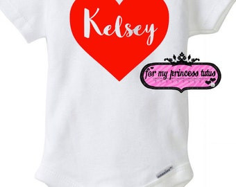 Personalized Valentine's Day onesie baby onesie - newborn, baby gift, baby shower,newborn, baby girl, bodysuit Valentine's Day shirt