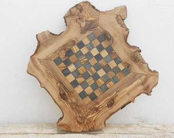 Chess Board, Olive Wood Natural Edges Chess Set, Dad gift, Christmas Gift