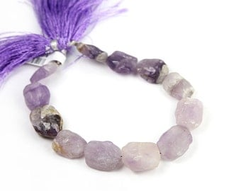 Pink Amethyst Hammered Coin Beads 1/2 Strand Lavender Semi Precious Gemstone