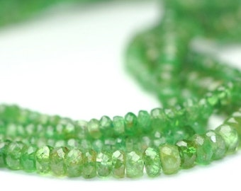 Valentines Sale Tsavorite Garnet Micro Faceted Rondelles Semi Translucent Green Semi Precious Gemstone January Birthstone