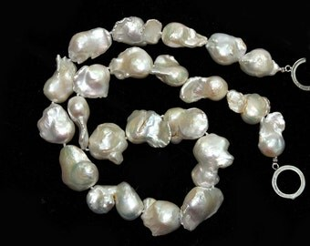 Fireball Baroque White Freshwater Pearl Large Focal 4 Pieces Silvery White Semi Precious Pearls