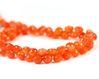 Carnelian Micro Faceted Onion Briolettes 4 Fanta Orange Semi Precious Gemstones
