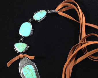 Handmade One-of-a-kind Southwestern Cumpas Mexico Turquoise, Turquoise Jewelry