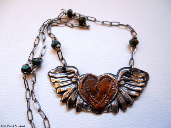 Handmade, Mixed Metalwork, Southwestern, Boho, Cowgirl, Kingman Turquoise Beads, Heart, Fine Silver Angel Wing Necklace