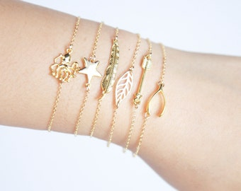 Dainty Gold Layering Bracelet or Anklet - gold feather, wishbone, star, leaf, octopus, arrow, dainty thin gold bracelet and anklet jewelry