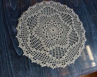 VINTAGE hand crochet doily table