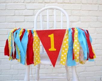 Boy 1st birthday Banner - Curious George birthday - 1st birthday banner - 1st birthday photo prop - boy 1st birthday - Circus Party