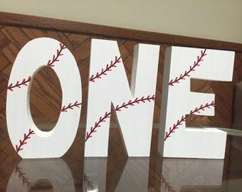 Baseball - sports - hand painted - photo prop - 1st birthday - 2nd birthday - wooden - blocks