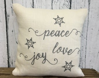 Peace Joy Love snowflake burlap Christmas/winter pillow cover with peace, love and joy and snowflakes