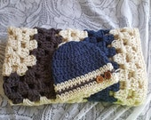 Crochet Baby Blanket Set 28x28 Hat Beanie 0-3 Months Stroller Infant Seat Bassinett Moses Basket FREE SHIPPING Ready to Ship