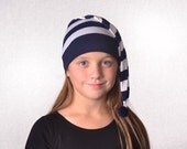 Nightcap Navy Blue White Stripes Pirate Night Cap Costume Hat Kids Lost Boys Girls Costume Hat Mate Men Women Neverland