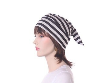 Nightcap Black White Stripes Night Cap Sleeping Hat Pajama Hat to Sleep in Unisex Poor Poet Hat