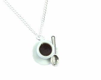 KETTE0041 Miniblings coffee cup chain necklace 45 cm Cafe coffee cup porcelain spoon