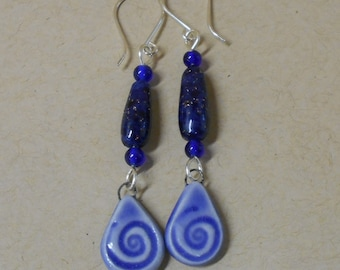 Cobalt Spiral Clay Earrings with Glitter Beads, Cobalt Glass Beads, Sterling Silver Ear Wires