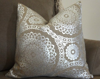 Decorative Natural & Silver Holiday Pillow Cover Silver Suzani Medallion Pillow Cover Natural Background 18x18