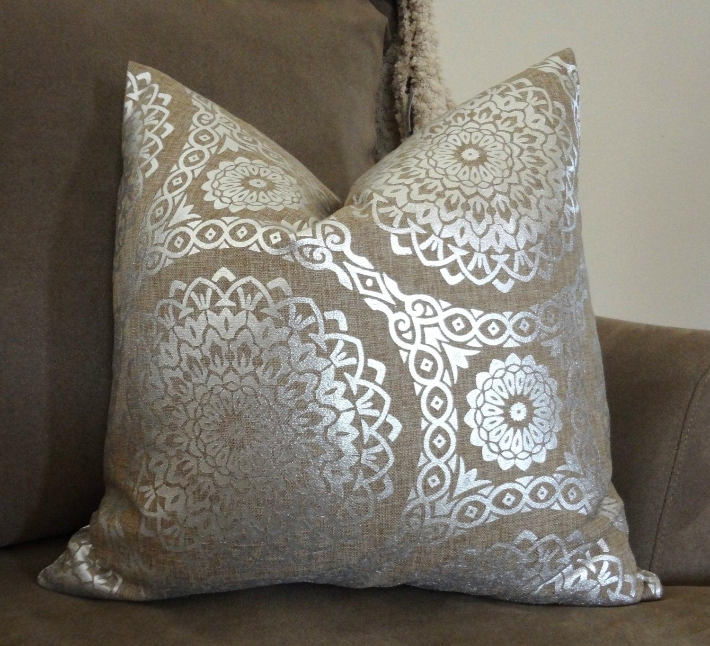 Decorative Natural & Silver Holiday Pillow Cover Silver Suzani
