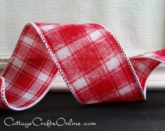 "Christmas Wired Ribbon, 2 1/2"", Red and White Flannel Check - THREE YARDS - Offray ""Wintery Plaid"" Tartan Wire Edged Ribbon"