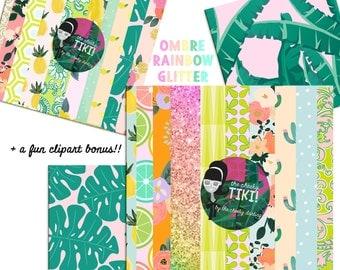 Cute CHEEKY TIKI Girl Tropical Aloha Luau Digital Paper files for Small CU like Planner Stickers Custom Card Template flowers