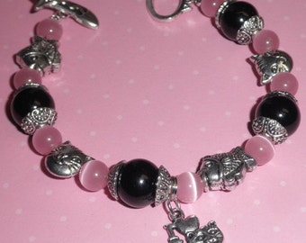 I Love My Cat Charm Bracelet Pink and Black