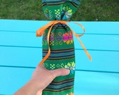 Mexican Gift Bag - Green Fabric Wine Bottle Sleeve  Reusable Gift Wrapping Pink Wedding Decor - Party Favor Housewarming Present Table Decor