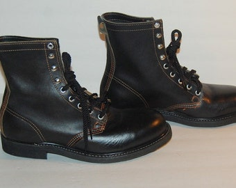 Mens Work Boots Black Leather Deadstock NOS Steel Toe USA Size 8.5 E