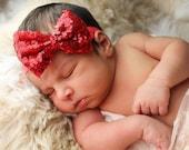 Baby Headbands, Red sequin Bow Headband, Head wraps, Girls Headband,Gold baby headband,Big Bow Headband,Sequin Bow Headband,