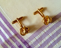 Vintage 1980's Brass Plated Classic Lanyard Knot Cuff Links, Nautical, Modern, Classy, Stylish, Manly Cuff Links
