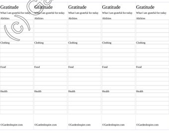 Gratitude Lists Bookmarks - Printable