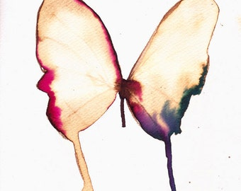 """white gold pink and blue butterfly  8 X 10"""" original watercolour painting"""